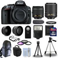 Nikon D5300 Digital SLR Camera + 4 Lens Kit 18-55mm VR 55-200 mm VR +32GB & More