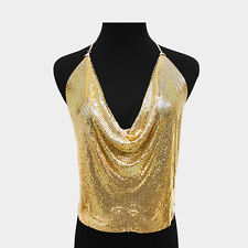 Backless Shirt Gold Halter Body Chain Metal Mirrors Mesh Women Body Camisole