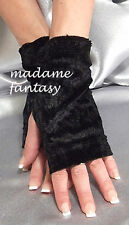 MADAME FANTASY SEXY FINGERLESS GLOVES MITTENS BLACK VELVET