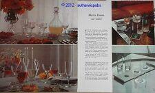 PUBLICITE DE 1971 CRISTAL DE DAUM  SUR TABLE FRENCH AD PRINT RARE 2 PAGES IMPACT