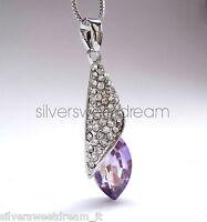 Collana conchiglia pendente acciaio brillanti cristallo zirconi ciondolo argento