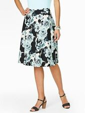 NEW $109 Blue Brushstroke Rose,Floral A-Line Cotton Skirt Sz 22WP,22W Petite