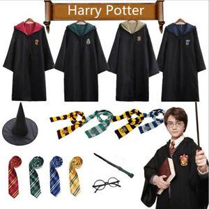Harry Potter Gryffindor Ravenclaw Slytherin Hufflepuff Robe Cloak Tie Costume