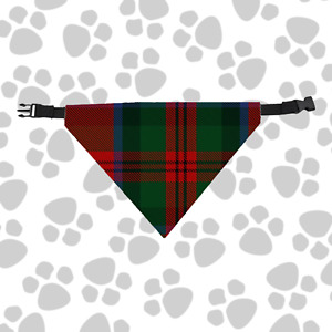 Clan MacDuff Dog Scarf Plaid Tartan Scottish Pet Bandana with Buckled Collar