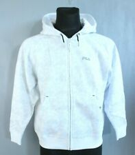 FILA BNWT White Long Sleeve Hooded Zip Up Boy Jumper with Pockets Size 9-10