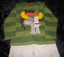 NWT Boys JUMPING BEANS Green Moose Shirt & PLACE Beige Corduroy Pants SIZE 4T