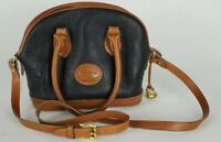 Dooney & Bourke Vintage 1990's Logo Satchel Black Leather w/  Brown Accents