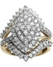 2 CT. T.W. Diamond 10K Yellow Gold Fn Marquise-Shape Cocktail Cluster Ring