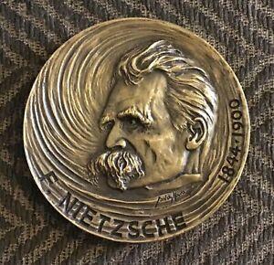 FRIEDRICH NIETZSCHE,GERMAN PHILOSOPHER,STUNNING RARE BRONZE MEDAL.80 MM,225.8 GR