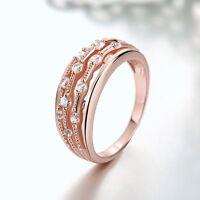 New 18K Rose Gold GP Lady's Swarovski Crystal Wedding Engagement Band Ring Gift