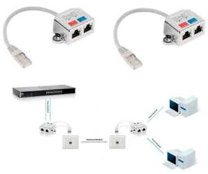 2er Set Portdoppler Netzwerk Splitter RJ45 Verteiler Y-Adapter 2x LAN Ethernet