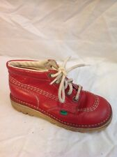 Girls Kickers Red Leather Boots Size 28