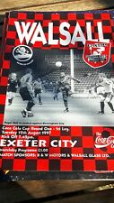 walsall v exeter city coca cola cup 12/08/97