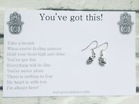 925 Sterling Silver Earrings With Message Gift Card, Anxiety, Exam, Stress💎 #EM