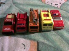 Lot of 5 Emergency Vehicles: Matchbox, Hot Wheels, Maisto, unbranded; Red,orange