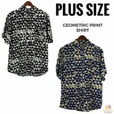 Geometric Button-Front Casual Shirts for Men