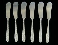 Lot of 6 National Silver NARCISSUS Sterling Silver Flat Handle Butter Spreader-