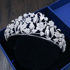 Luxury All CZ Cubic Zirconia Floral Wedding Party Pageant Prom Tiara Crown