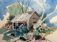 """TOOL SHED""  original watercolor by American artist Micheal Jones #1928"