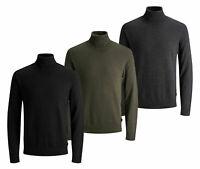 Jack & Jones Mens New Roll Neck Knitted Long Sleeve Jumper Black Grey Khaki