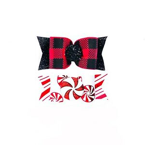 Dog Hair Bows- Buffalo Plaid Peppermint Pet Bow Christmas Elastics or Barrette