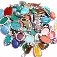 New !! Mix Lot 100 PCs. Tiger Eye & Malachite Gemstone 925 Silver Plated Pendant