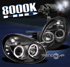 2003 2004 2005 DODGE NEON HALO LED BLACK PROJECTOR HEADLIGHTS W/HID 8000K SIGNAL