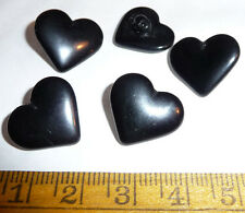 5 VINTAGE 2cm Checo Vidrio Negro Botones corazón