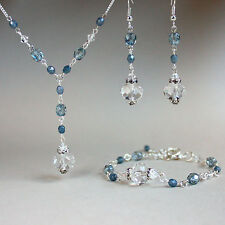 Blue crystals necklace bracelet earrings wedding bridesmaid silver jewellery set
