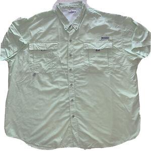 Columbia PFG Trollers Best Vented Fishing Shirt S/S Green 3XL XXXL Omni Shade
