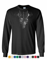 Skulls Hanging on Chains Long Sleeve T-Shirt Death Creepy Scary Hell Devil Tee