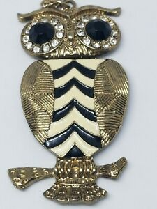 """Owl Necklace Crystals with Black Plastic Eyes 28""""L Chain Enameled Metal New"""