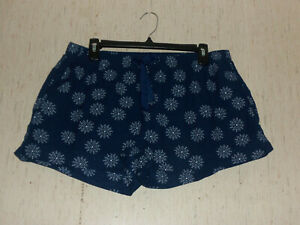 EXCELLENT WOMENS Gap Body NAVY W/ SNOWFLAKES FLANNEL SLEEP LOUNGE SHORTS SIZE  L