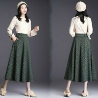 Lady Faux Wool Skirts Retro Pleated Check Plaid Tartan Midi Half Dress Warm Chic