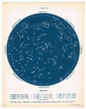 ANTIQUE PRINT VINTAGE ASTRONOMY CONSTELLATIONS STAR BLUE 1876 CHART THE SKY #5