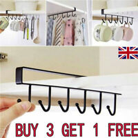 Storage Cabinet Hanging Cup Shelf Hook Holder Organiser Cupboard Kitchen Rack TK