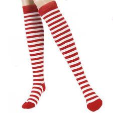 Red Women White Stripes Thigh High Stockings Cotton Stocking