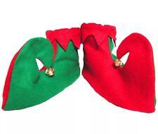 Elf Pixie Chaussures Rouge & Vert Avec Cloches De Noël Bottes accessoires costume robe fantaisie