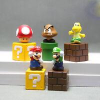 Super Mario Bros Goomba Luigi 5 PCS Action Figure Doll Toy Cake Topper Kids Gift