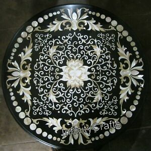 Mother of Pearl Inlaid Marble Sofa Table Top Round Coffee Table 24 x 24 Inches
