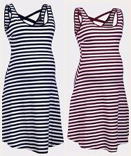 New Look Navy Burgundy Stripe summer Maternity dress.New. 8,10,12,14,16,18