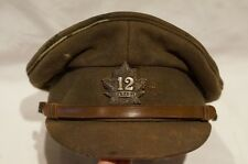 WW1 Canadian CEF 12th Battalion Officers Peak Cap Hat