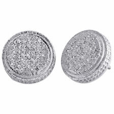 b3bbd2344 .925 Sterling Silver Diamond 3D Studs Illusion Prong 14.85mm Earrings 0.25  Ct.