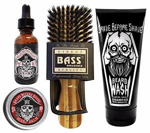 Grave Before Shave Beard Care Pack BAY RUM | Oil, Balm, Bass Brush & Beard Wash