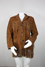 vintage leather fringe jacket M pioneer wear 70's hippy brown made in usa