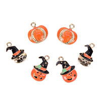 10Pcs/Set Enamel Alloy Halloween Pumpkin Cap Charms Pendant Jewelry DIY Gift US