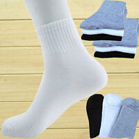 1 Dozen 4-12 Pairs Chic Men Ankle Quarter Sport Socks Crew Low Cut Solid Color