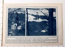1915 WWI WW1 PRINT CARRYING WOUNDED BY WIRE ROPE RAILWAY CABLE TRANSPORT VOSGES