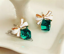 crystal earrings green bow stud earrings gold blue water diamond earrings