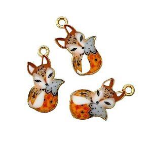 10 Brown Grey Sleeping Fox Gold Bead Drop 19x11mm Charms Pendants